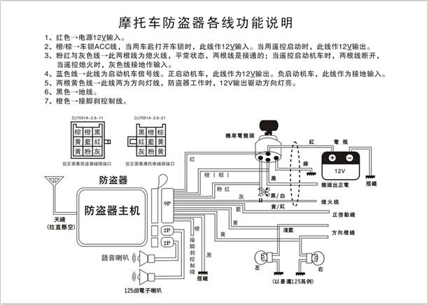 雷震子摩托车防盗器安装接线功能说明书